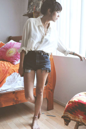 white blouse - black Levis shorts