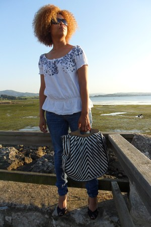 blue BLANCO jeans - blue Stradivarius bag