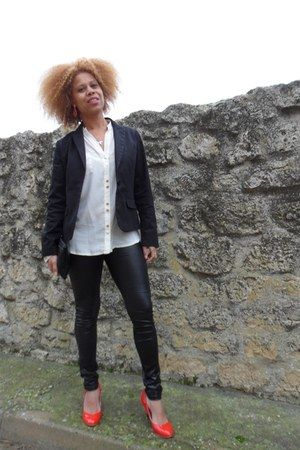 black suiteblanco bag - black Stradivarius leggings - black Stradivarius blazer