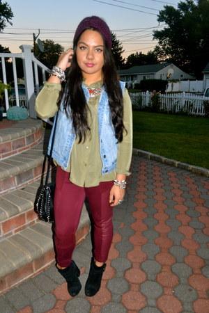 Forever 21 vest - lucky boots - H&M leggings - Forever 21 shirt
