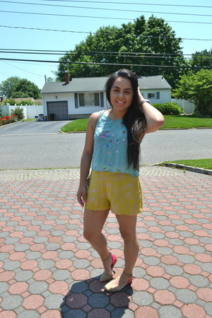 turquoise blue Forever 21 shirt - yellow H&M shorts - neutral Aldo flats
