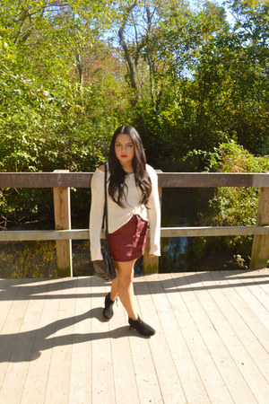 black Steve Madden boots - cream Forever 21 sweater - brick red H&M skirt