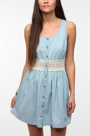 cute blue Crocheted back chambray dress