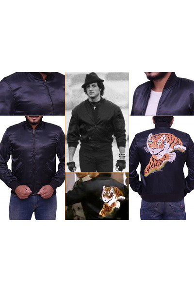 Mens Black Leather Jackets Rocky 2 Tiger Logo Satin Jacket By