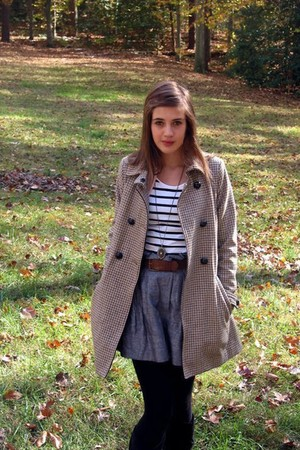 wool H&M coat - slouch boots Payless boots - striped H&M shirt