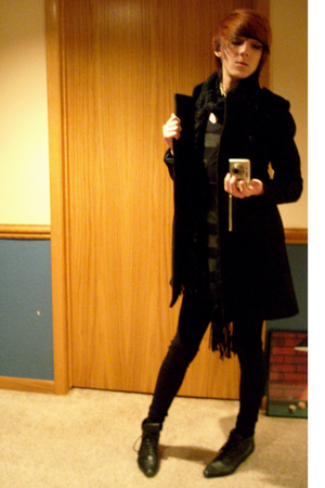 H&M coat - Express leggings - Express dress - Urban Outfitters vest - H&M scarf