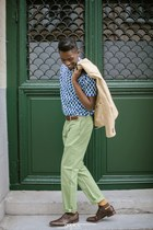 brown Zara shoes - beige ted baker blazer - ben sherman shirt