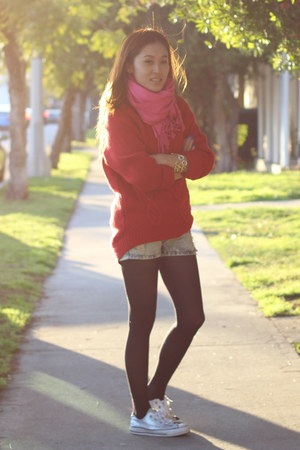 red H&amp;M sweater - bubble gum fringe PUBLIK scarf