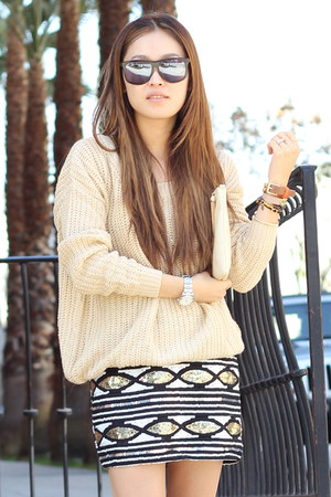 gold PUBLIK sweater - black sequin skirt PUBLIK skirt