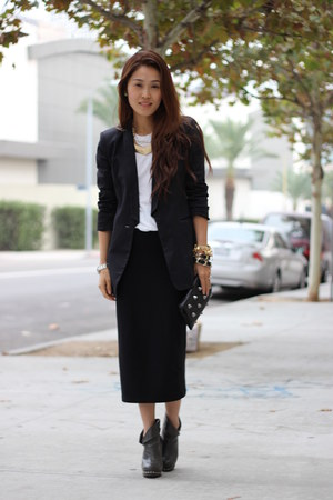 black Zara blazer - black maxi Top Shop skirt