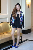 blue FLORAL JACKET jacket - black leather shorts Leather shorts shorts