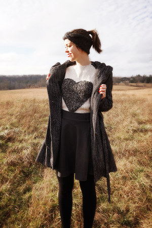 black modcloth coat - heather gray Larmoni sweater - dark gray modcloth skirt