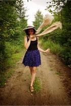 black shirt - peach scarf - blue skirt