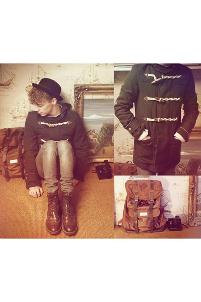 backpack bag - brogue boots H&amp;M boots - duffle coat asos coat