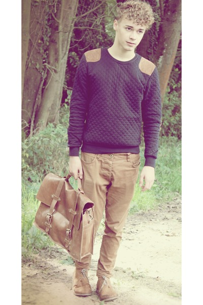 Zara sweater - desert boots H&M shoes - satchel asos bag