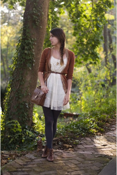 tawny lace up oxfords thrifted boots - ivory lace Target dress