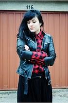 black Zara jacket - ruby red noname blouse - black self-made skirt