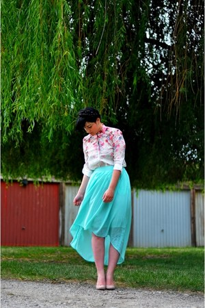 aquamarine Sheinside skirt - white Sheinside blouse