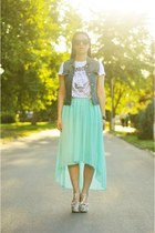 aquamarine Sheinside skirt - white Mart of China wedges