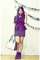 black Urban Outfitters boots - ivory from japan bag - black polkadot Zara skirt