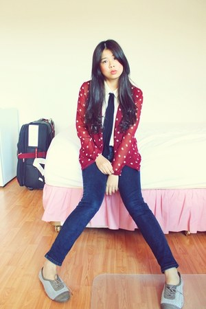 red polkadot asos blazer - bronze Urban Outfitters shoes - blue denim jeans