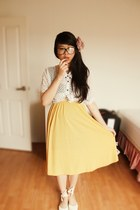 yellow Temt skirt - eggshell Sportsgirl shoes - ivory polkadot shirt