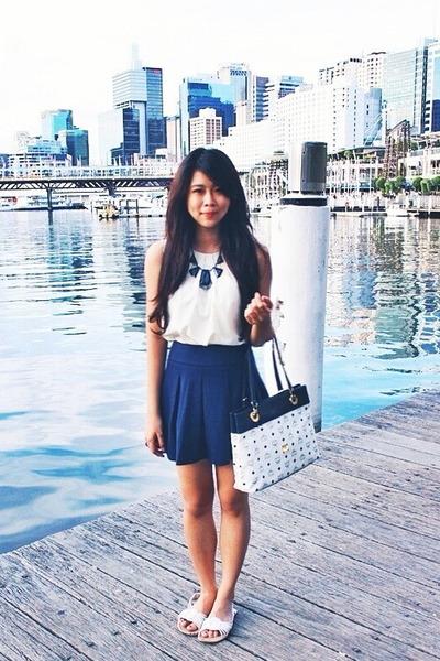 MCM bag - navy Forever 21 skirt - ivory Zara tie