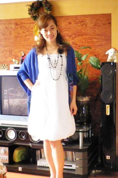 vintage dress - blue vintage cardigan