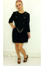 black gold chain lbd vintage dress - burnt orange unknown shoes