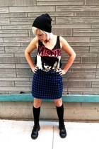 navy plaid wool mini vintage skirt - black combat vintage boots