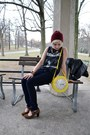 Brick-red-beanie-thrifted-hat-yellow-clock-purse-vintage-purse
