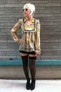 Black-thigh-high-vintage-tights-yellow-thrifted-blouse
