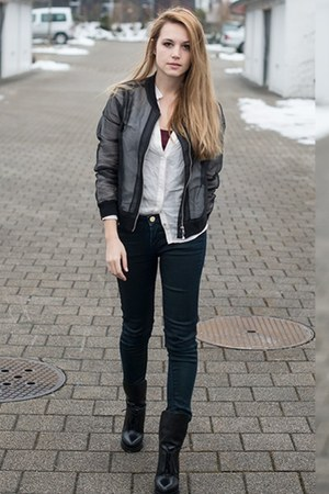H&amp;M jacket - Alexander Wang boots - Zara blouse