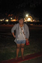 silver Forever 21 cardigan - gray H&M blouse - blue Forever 21 shorts