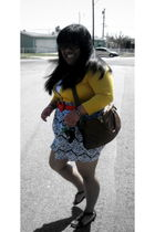Forever 21 cardigan - H&M purse - Forever 21 skirt