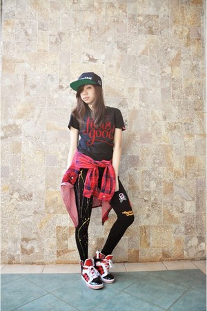 black H&M hat - Choies leggings - supra Target sneakers