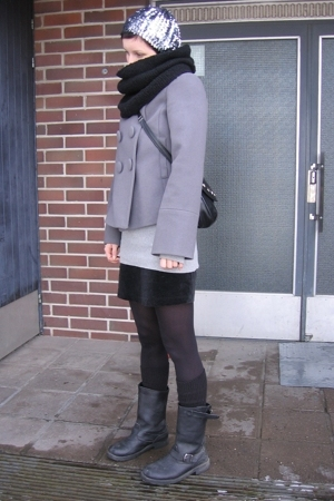 black mini armani jr skirt - black mc Ellos boots - gray sequin beret asos hat