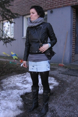 JSFN jacket - Mulberry accessories - DIY skirt