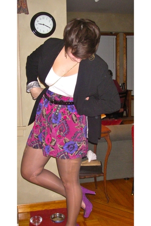purple BCBG shoes - red thrifted skirt - black Outlet store blazer - white Zara 