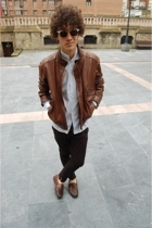 Cortefiel jacket - vintage shirt - rayban glasses - vintage pants - Sebago shoes