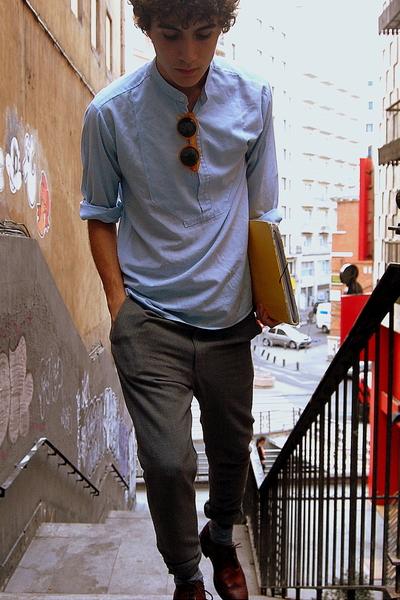 blue vintage shirt - gray Paul Smith pants