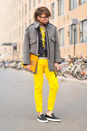 Topshop jacket - mustard Moschino jeans - banana asos sweater