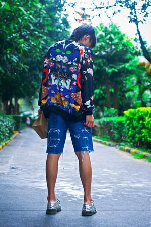 navy oriental print Zara jacket