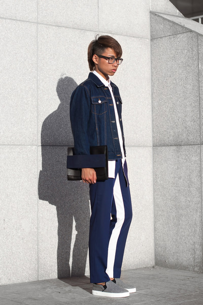 Jil Sander shirt - Wood Wood bag - Prada pants