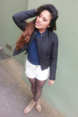 black Forever 21 jacket - tan Steve Madden boots - navy hollister shirt