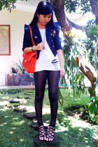 blue Old Navy blazer - gold - white t-shirt - red Chanel - black shoes