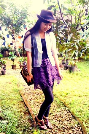 brown hat - silver blazer - purple skirt - brown shoes