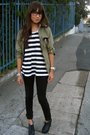 Black-kill-city-jeans-white-shirt-green-gap-jacket