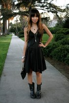 black Frye boots - black free people dress