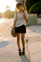 black Urban Outfitters shorts - silver melie bianco bag - beige vintage blouse